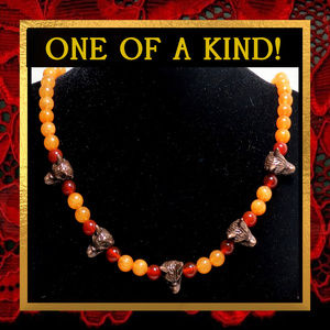 Wolves & Fiery Orange Gemstone Necklace #561